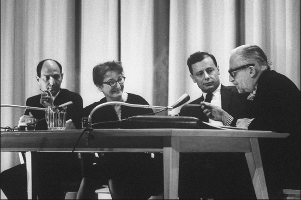 Daniel Rosenblatt, Pauline Kael, John Simon and Dwight MacDonald at the New York Film Festival in 1963.