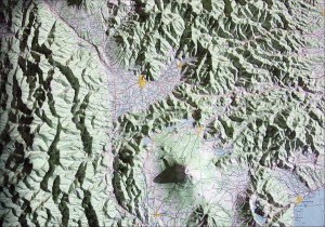 Straight down view of Mount Fuji relief model