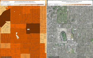Social Explorer map of areas surrounding Hollywood Park, Inglewood, CA