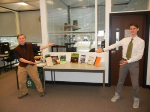 Students completed an Earth Day exhibit at Kresge Library