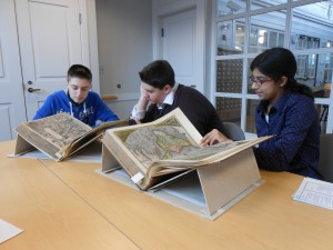 Students compare notes on rare books at Rauner Library