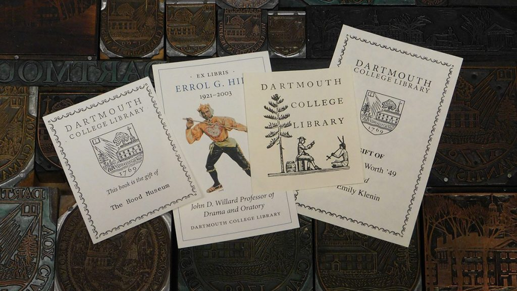 Samples of Dartmouth Library bookplates