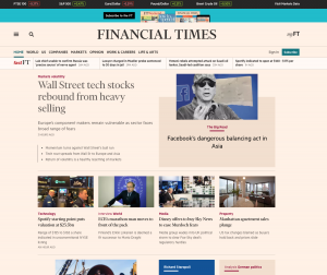 Front page of Financial Times website