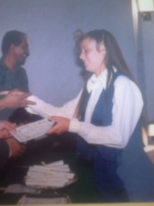 Mirtha receiving her secondary school diploma