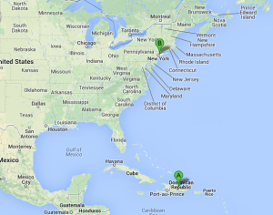 Map view of Kianny's journey from the D.R. to the Bronx, NY.