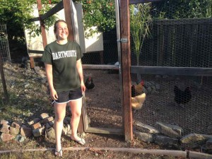 PJ shows off her chickens