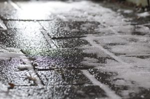 A patch of black ice.