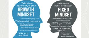 Picture displaying the two concepts of Growth Mindset and Fixed Mindset