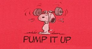 Motivational picture of Snoopy the Dog lifting weights.