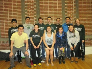 The team celebrating a fantastic showing at the Dartmouth home meet