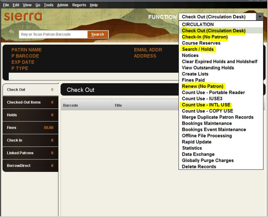 sierra circulation main window and drop down menu