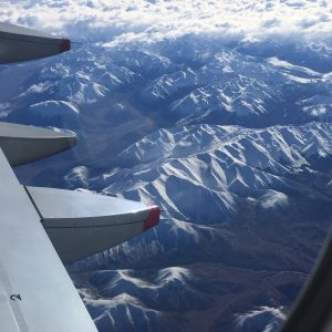 The Southern Alps looking a bit like crumpled paper.