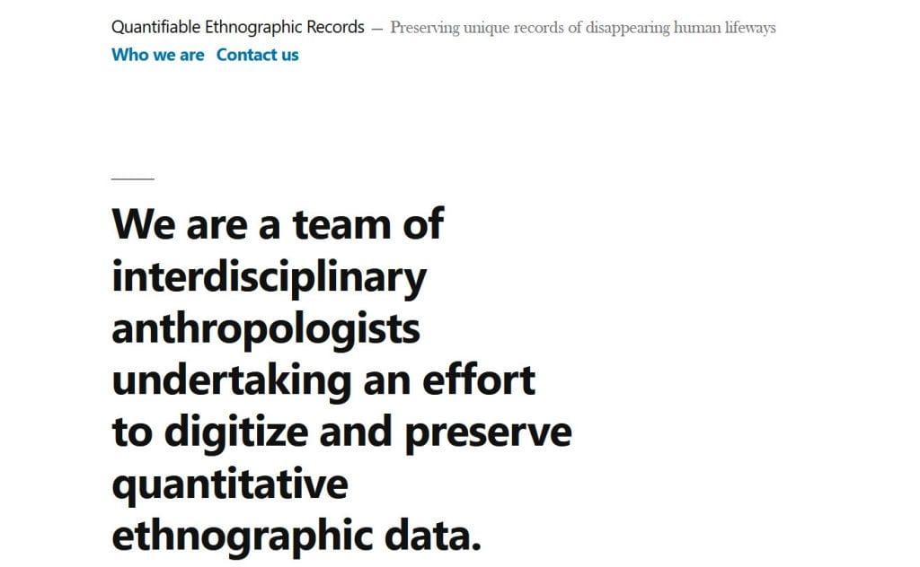 Ethnographic Records website