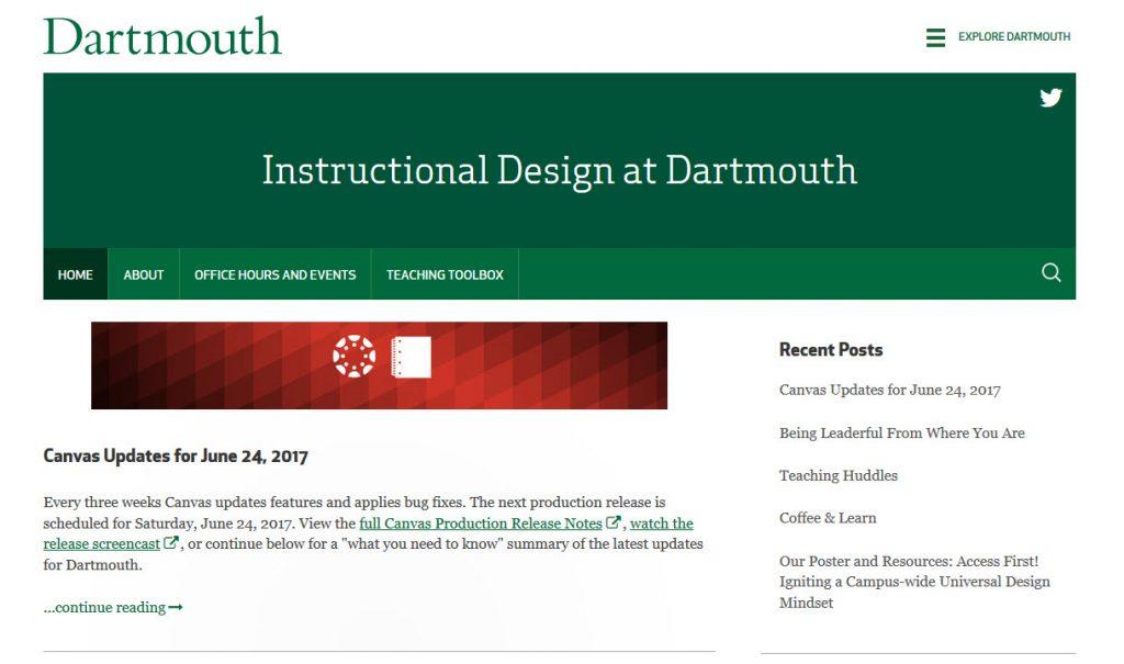 Instructional Design at Dartmouth screenshot