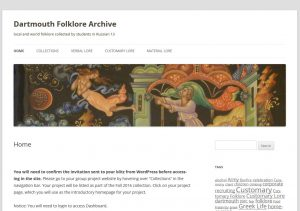 Dartmouth Folklore Archive screenshot