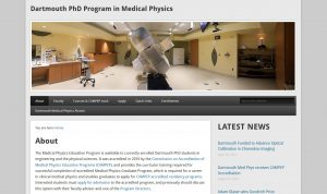 Dartmouth PhD Program in Medical Physics screenshot