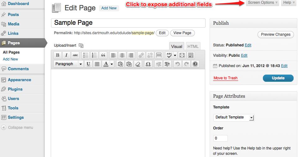single page option screenshot