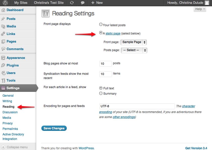 screenshot for reading settings