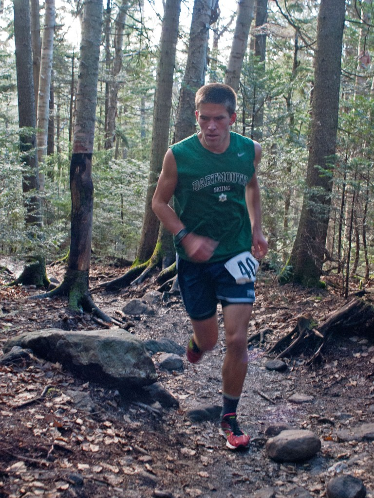 Austin Caldwell '15 approaches the Snapper Trail turn-off