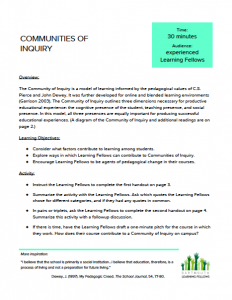 """A sample page from our huddle activity, """"Communities of Inquiry."""""""