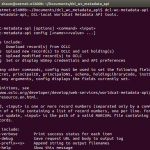The help text for the dcl_wc_metadata_api command-line tool.