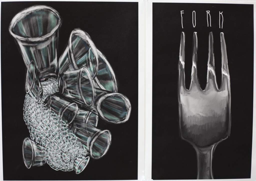 Left: Corinne Romano '15  Right: Julian MacMillan '14 Digital Drawing on Photoshop.