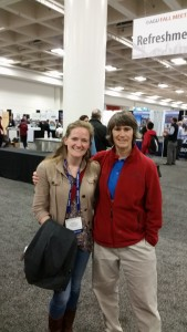 "Jess Trout-Haney (Ph.D. expected 2016) and Elizabeth ""ET"" Traver (technician 2010-12) at the AGU meeting in San Francisco."