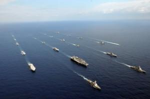 U.S. and Japanese ships at sea.