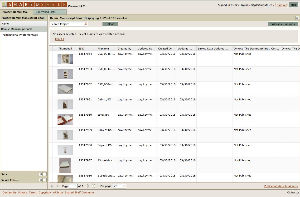 Shared Shelf cataloging view