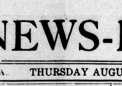 Daily News Record masthead, August 19, 1920 Harrisonburg, VA