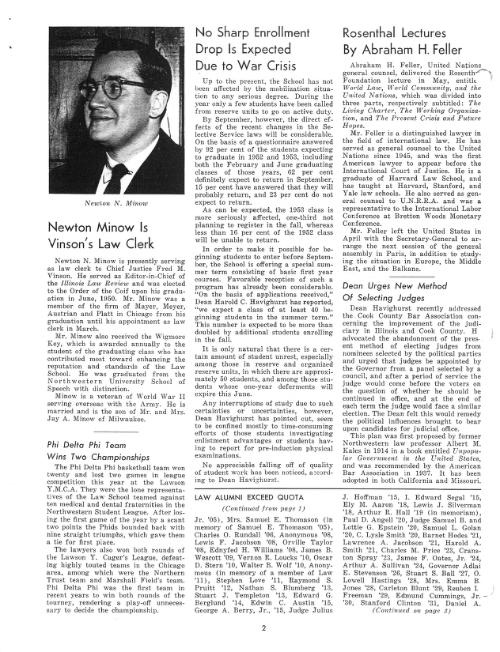 Newt Minow clerkship announcement 1951