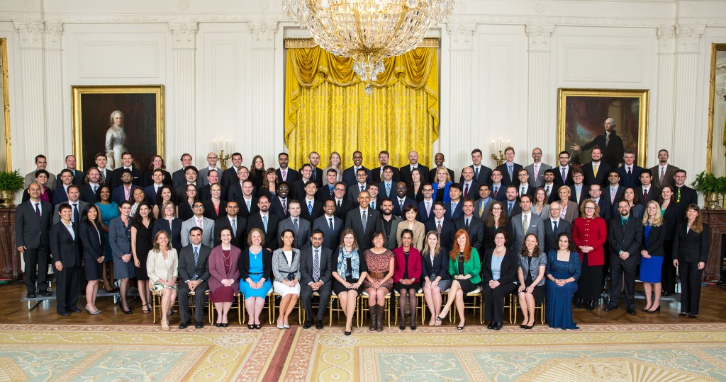 President Barack Obama joins recipients of the 2013 Presidential Early Career Award for Scientists and Engineers (PECASE) for a group photo in the East Room of the White House, May 5, 2016. (Official White House Photo by Lawrence Jackson)