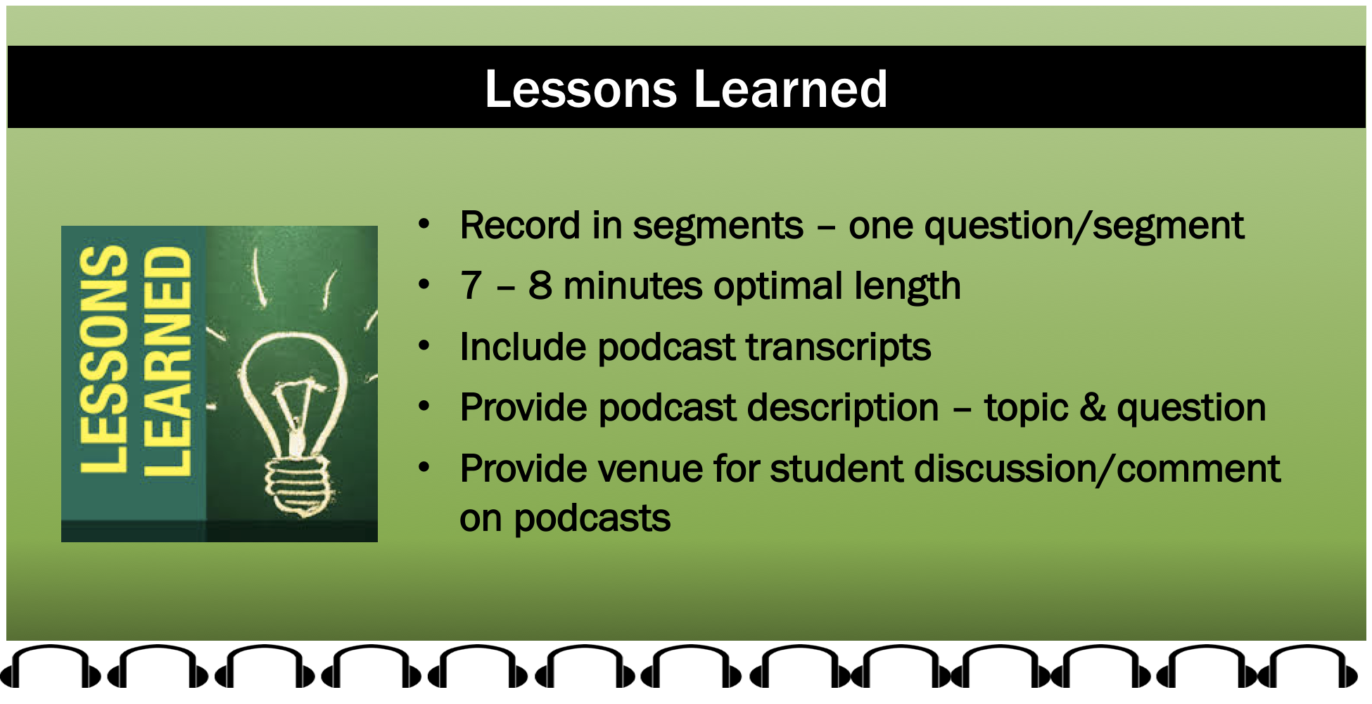 Lessons Learned: Record in segments - one question per segment; 7 to 8 minutes optimal length; include podcast transcripts; provide podcase description - topic & question; provide venue for student discussion and comment on the podcasts