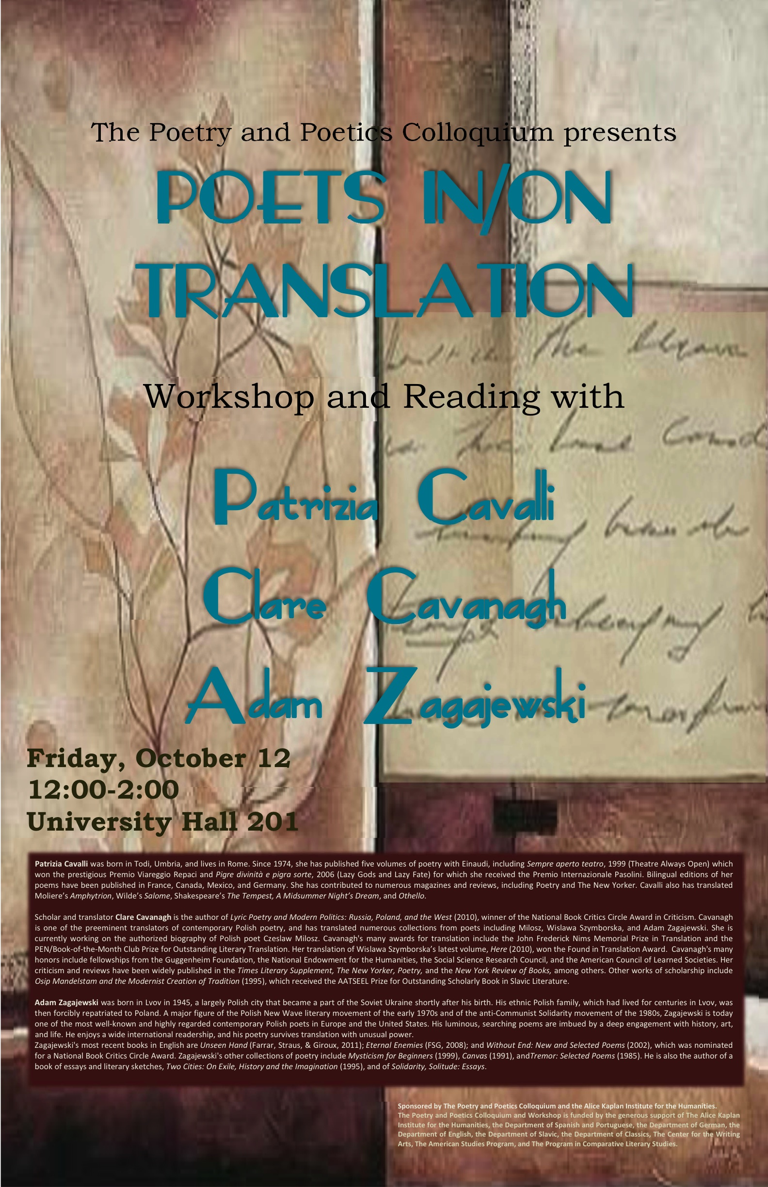 Poets in/on Translation Poster