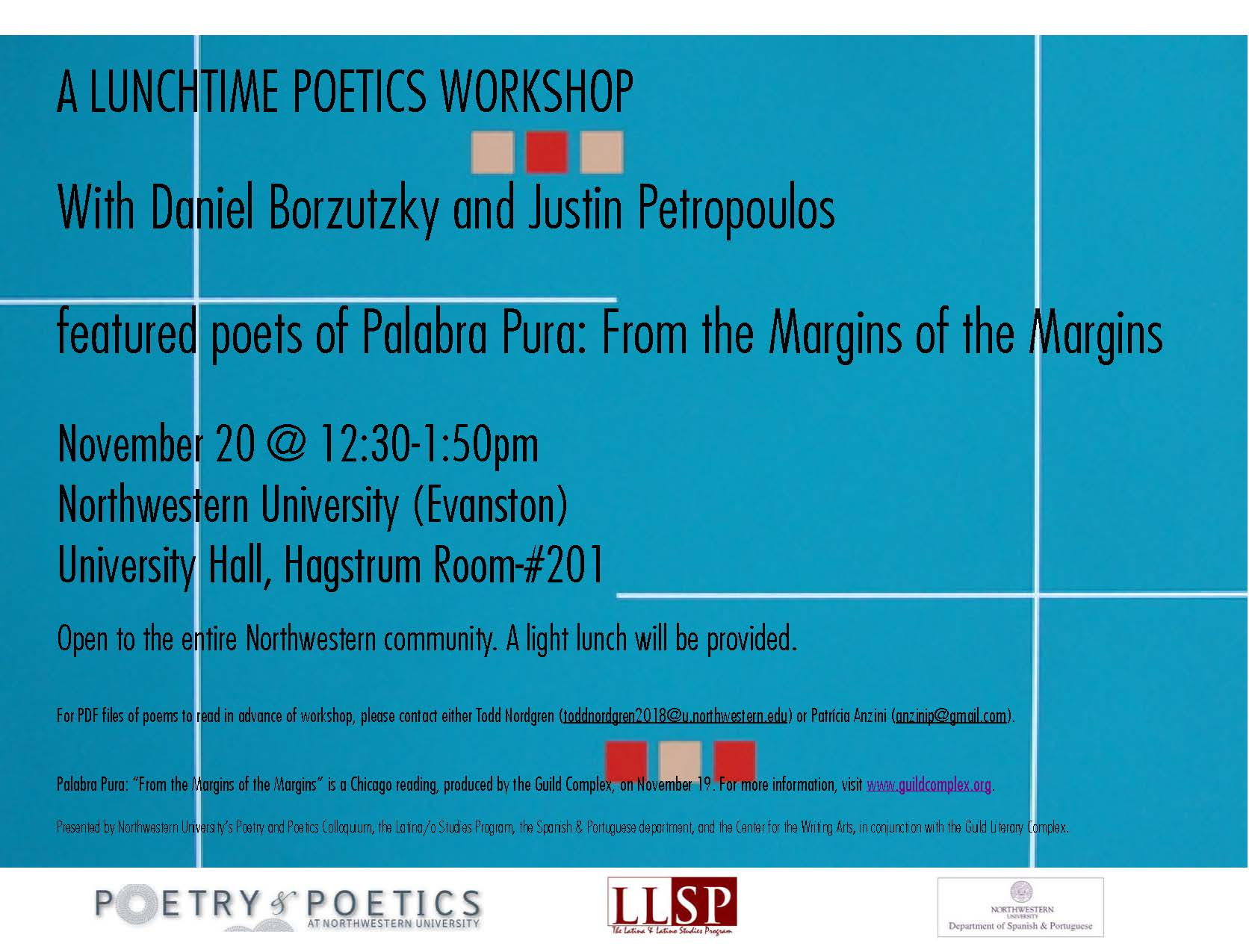the poetry and poetics colloquium at northwestern university palabra pura poster