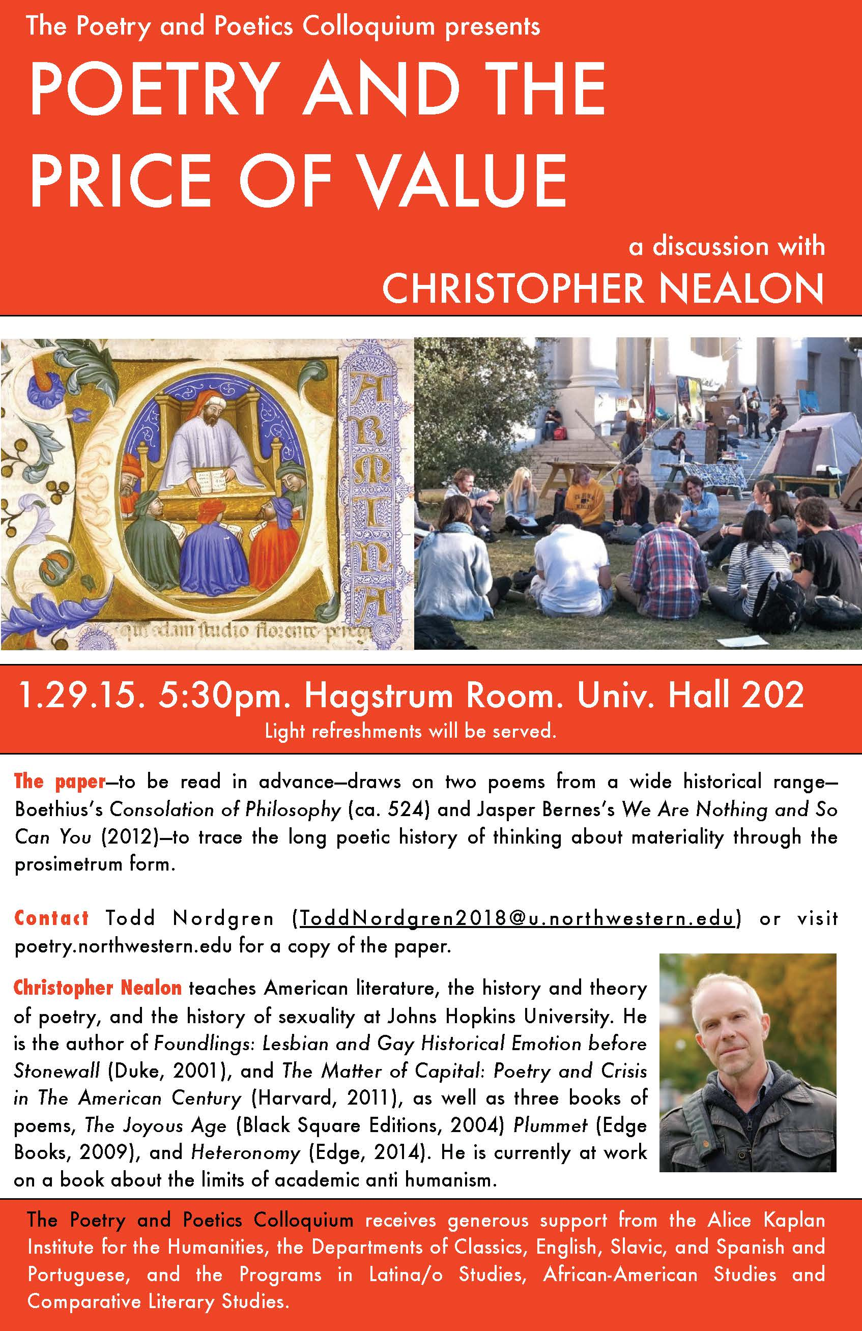the poetry and poetics colloquium at northwestern university christopher nealon