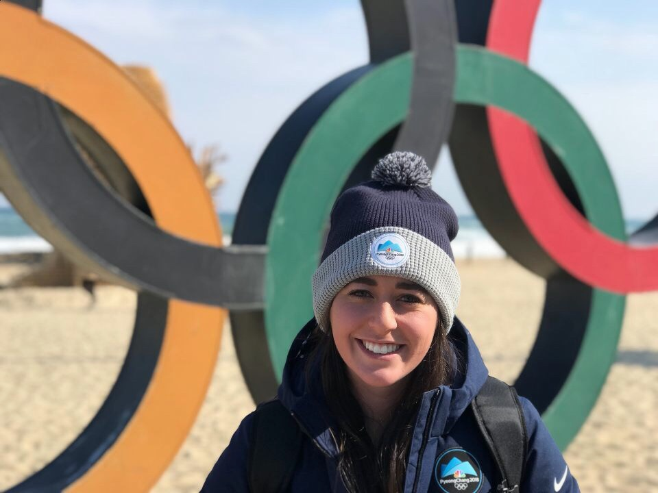 Lyndsey standing in the Olympic Village in PeyongChang, Korea.