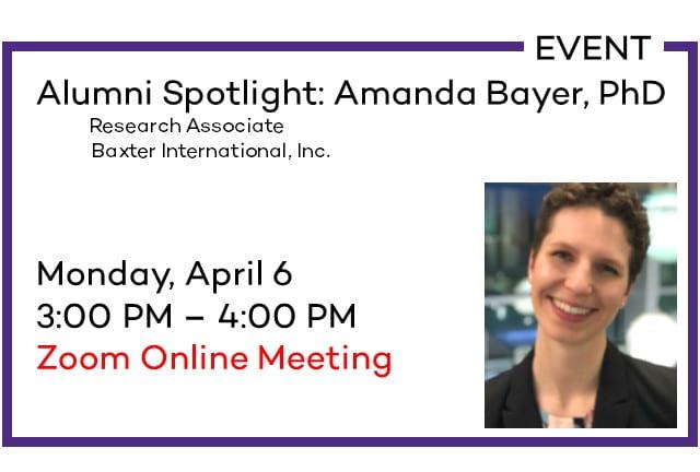 Amanda Bayer Alumni Spotlight Event April 6