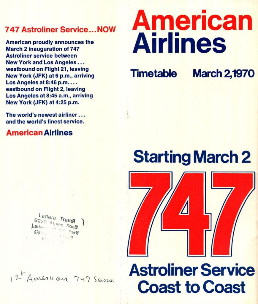 American Airlines March 2, 1970 Timetable