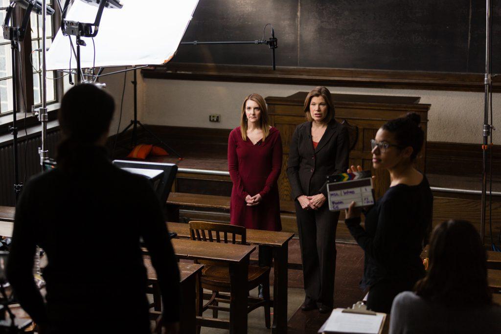 Camera Crew Films Professors Sue Provenzano and Martha Kanter