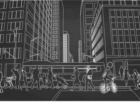 pedestrians crossing city road