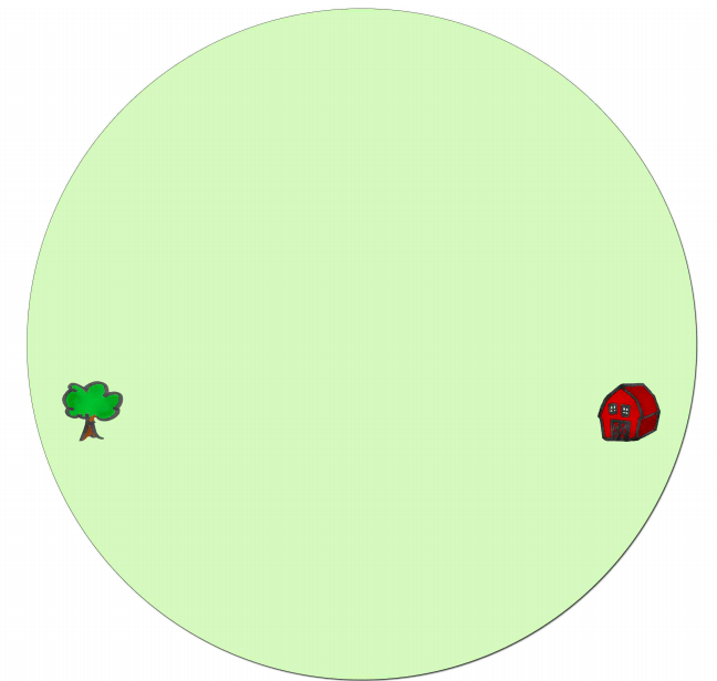 red house across tree in green circle