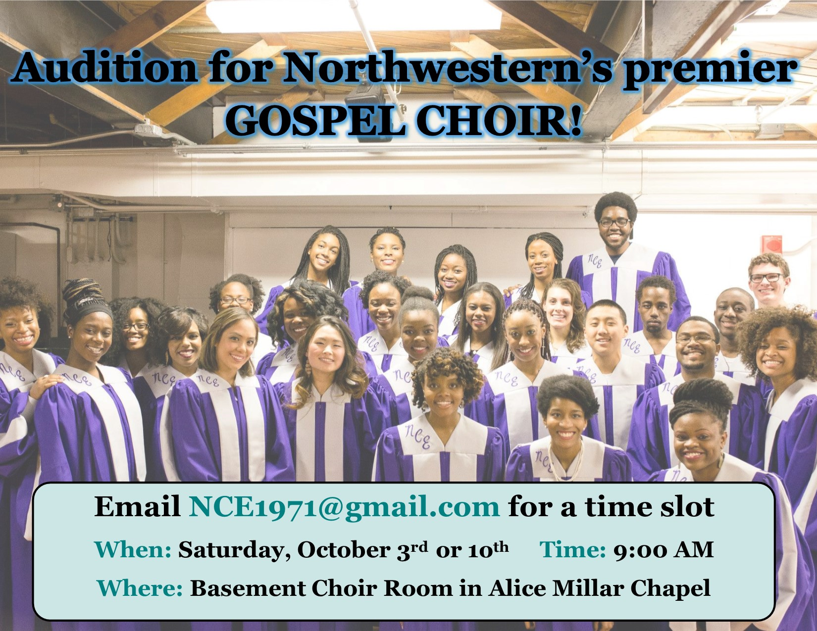 Audition for Northwestern's premier GOSPEL CHOIR!