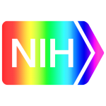 The NIH logo recolored as a rainbow gradient.