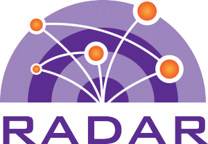"The logo for the RADAR Project, which features several nodes connected to each other above the word ""RADAR""."