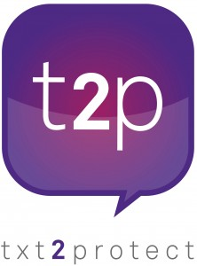 "The logo for the Txt2Protect project, which features a purple chat bubble that says ""t2p"" above the text ""txt2protect"""