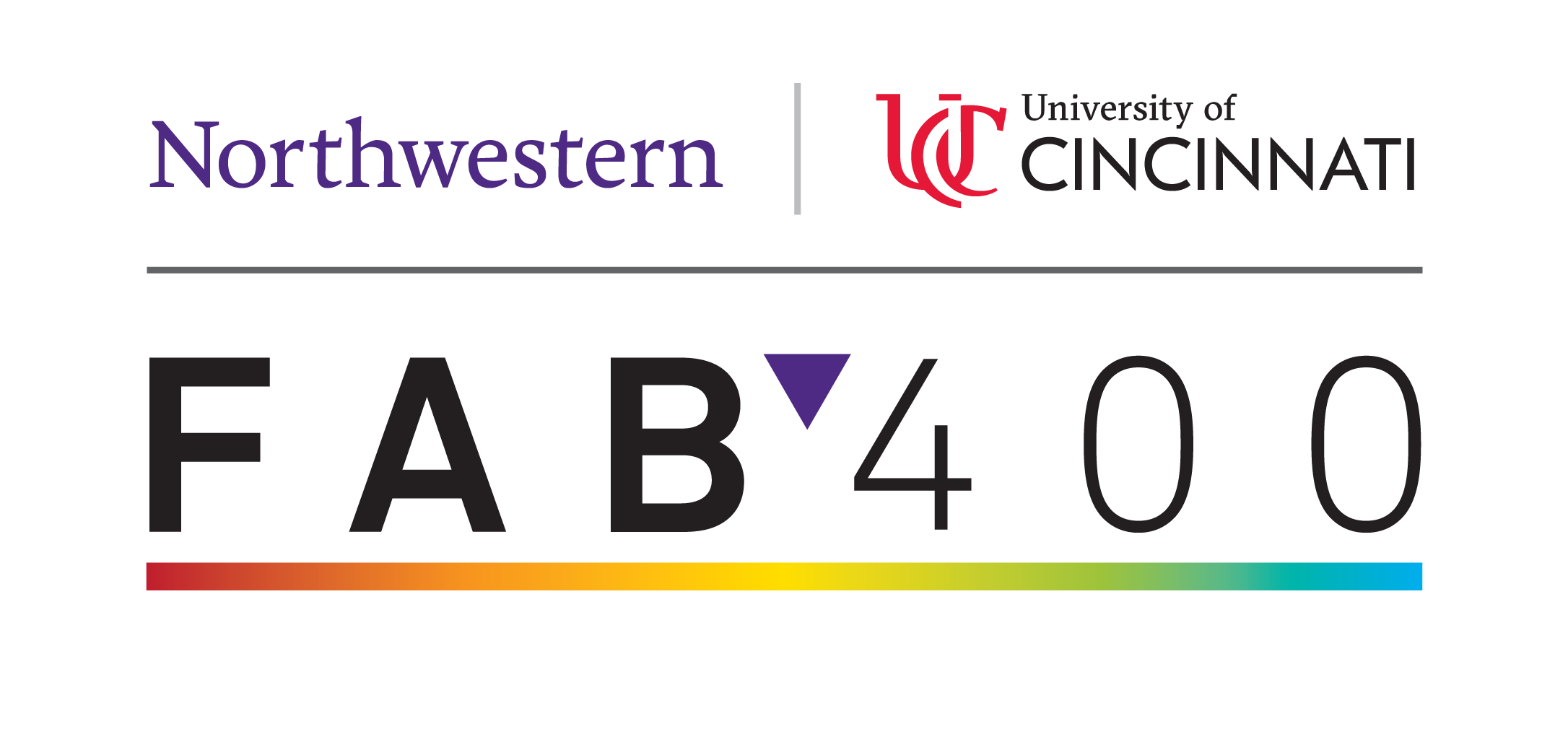A logo for the FAB 400 project. At the top is the logos of Northwestern University and University of Cincinnati.