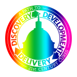 """The logo for the 21st Century Cures Act in a rainbow gradient. The outer ring of the logo says """"A PATH TO 21st CENTURY CURES"""". The inner ring of the logo says """"DISCOVERY -> DEVELOPMENT -> DELIVERY"""". In the very center is a profile of the capitol building."""