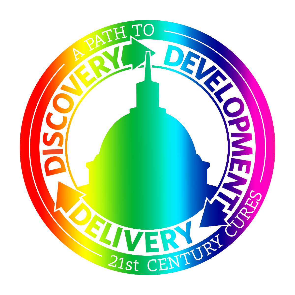 "The logo for the 21st Century Cures Act in a rainbow gradient. The outer ring of the logo says ""A PATH TO 21st CENTURY CURES"". The inner ring of the logo says ""DISCOVERY -> DEVELOPMENT -> DELIVERY"". In the very center is a profile of the capitol building."