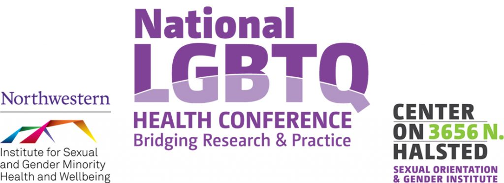 The logo for the National LGBTQ Health Conference: Bridging Research & Practice, followed by the logos for ISGMH and Center on Halsted Sexual Orientation & Gender Institute.